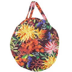 Autumn Flowers Pattern 2 Giant Round Zipper Tote by tarastyle