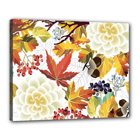 Autumn Flowers Pattern 3 Canvas 20  X 16  by tarastyle