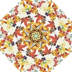Autumn Flowers Pattern 3 Hook Handle Umbrellas (large) by tarastyle