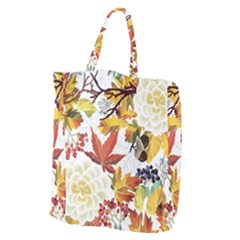 Autumn Flowers Pattern 3 Giant Grocery Zipper Tote by tarastyle
