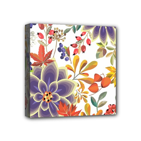 Autumn Flowers Pattern 5 Mini Canvas 4  X 4  by tarastyle