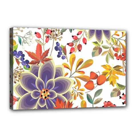 Autumn Flowers Pattern 5 Canvas 18  X 12  by tarastyle