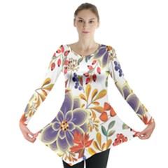 Autumn Flowers Pattern 5 Long Sleeve Tunic  by tarastyle