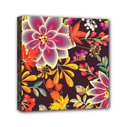 Autumn Flowers Pattern 6 Mini Canvas 6  X 6  by tarastyle