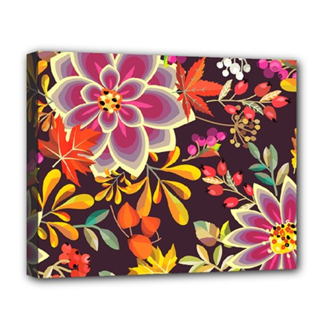 Autumn Flowers Pattern 6 Deluxe Canvas 20  X 16   by tarastyle