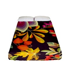 Autumn Flowers Pattern 6 Fitted Sheet (full/ Double Size) by tarastyle