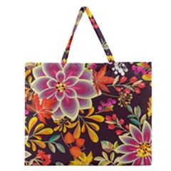 Autumn Flowers Pattern 6 Zipper Large Tote Bag by tarastyle