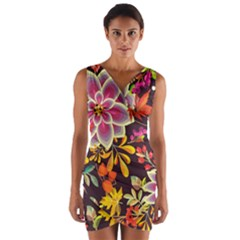 Autumn Flowers Pattern 6 Wrap Front Bodycon Dress by tarastyle