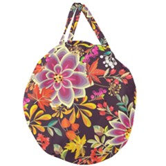 Autumn Flowers Pattern 6 Giant Round Zipper Tote by tarastyle