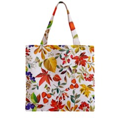Autumn Flowers Pattern 7 Zipper Grocery Tote Bag by tarastyle