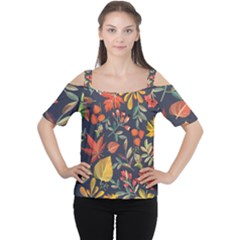 Autumn Flowers Pattern 8 Cutout Shoulder Tee by tarastyle