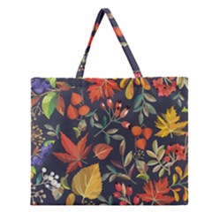 Autumn Flowers Pattern 8 Zipper Large Tote Bag by tarastyle