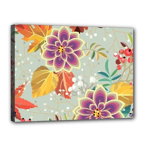 Autumn Flowers Pattern 9 Canvas 16  X 12  by tarastyle