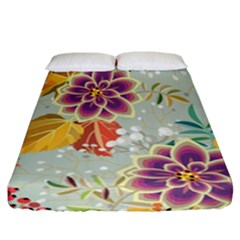 Autumn Flowers Pattern 9 Fitted Sheet (california King Size) by tarastyle