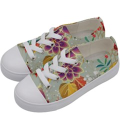 Autumn Flowers Pattern 9 Kids  Low Top Canvas Sneakers by tarastyle