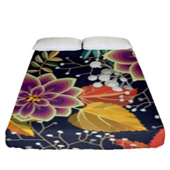 Autumn Flowers Pattern 10 Fitted Sheet (king Size) by tarastyle