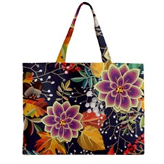 Autumn Flowers Pattern 10 Zipper Mini Tote Bag by tarastyle