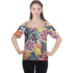 Autumn Flowers Pattern 10 Cutout Shoulder Tee by tarastyle