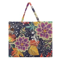 Autumn Flowers Pattern 10 Zipper Large Tote Bag by tarastyle