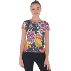 Autumn Flowers Pattern 10 Short Sleeve Sports Top