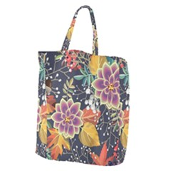 Autumn Flowers Pattern 10 Giant Grocery Zipper Tote by tarastyle