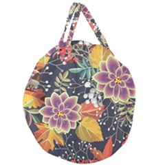 Autumn Flowers Pattern 10 Giant Round Zipper Tote by tarastyle