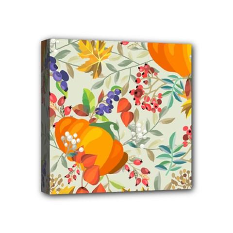 Autumn Flowers Pattern 11 Mini Canvas 4  X 4  by tarastyle