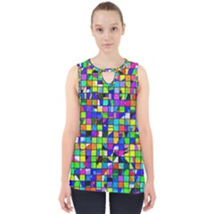 Colorful Squares Pattern                             Cut Out Tank Top
