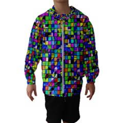 Colorful Squares Pattern                             Hooded Wind Breaker (kids) by LalyLauraFLM