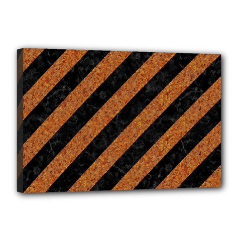 Stripes3 Black Marble & Rusted Metal (r) Canvas 18  X 12  by trendistuff