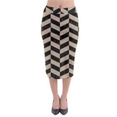 Chevron1 Black Marble & Sand Midi Pencil Skirt by trendistuff