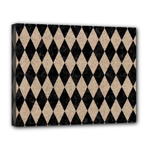 Diamond1 Black Marble & Sand Canvas 14  X 11  by trendistuff