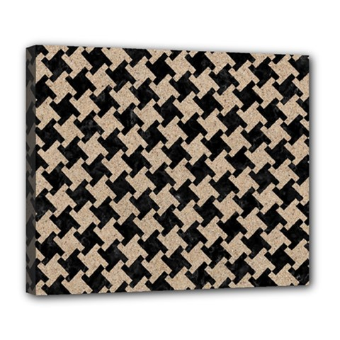 Houndstooth2 Black Marble & Sand Deluxe Canvas 24  X 20   by trendistuff