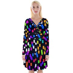 Colorful Rectangles On A Black Background                                    Long Sleeve Front Wrap Dress