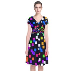 Colorful Rectangles On A Black Background                            Short Sleeve Front Wrap Dress by LalyLauraFLM