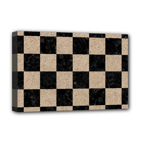 Square1 Black Marble & Sand Deluxe Canvas 18  X 12   by trendistuff