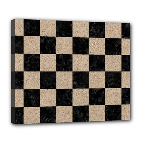 Square1 Black Marble & Sand Deluxe Canvas 24  X 20   by trendistuff