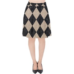 Square2 Black Marble & Sand Velvet High Waist Skirt