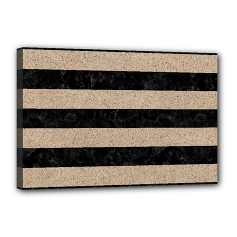 Stripes2 Black Marble & Sand Canvas 18  X 12  by trendistuff