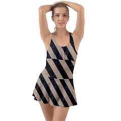 Stripes3 Black Marble & Sand Swimsuit