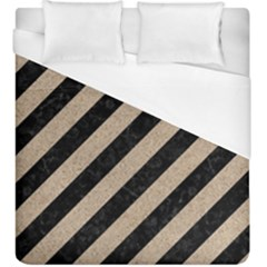 Stripes3 Black Marble & Sand (r) Duvet Cover (king Size)