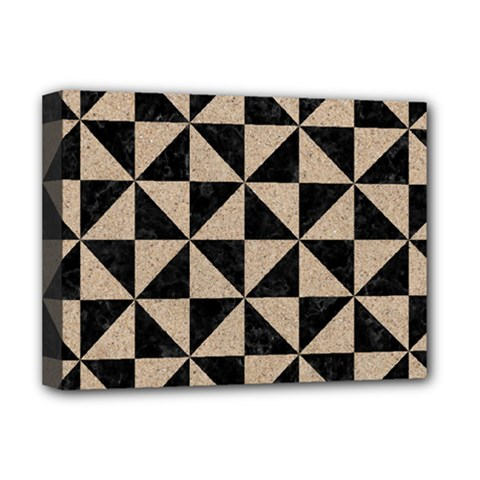 Triangle1 Black Marble & Sand Deluxe Canvas 16  X 12   by trendistuff