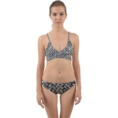 Brick2 Black Marble & Silver Foil Wrap Around Bikini Set