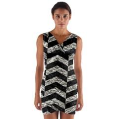 Chevron2 Black Marble & Silver Foil Wrap Front Bodycon Dress by trendistuff