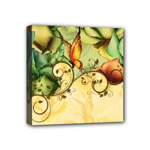 Wonderful Flowers With Butterflies, Colorful Design Mini Canvas 4  X 4  by FantasyWorld7
