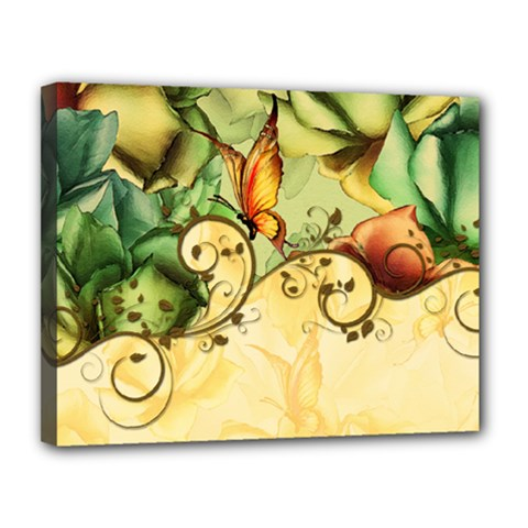 Wonderful Flowers With Butterflies, Colorful Design Canvas 14  X 11  by FantasyWorld7