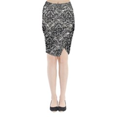 Damask1 Black Marble & Silver Foil Midi Wrap Pencil Skirt