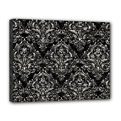 Damask1 Black Marble & Silver Foil (r) Canvas 14  X 11  by trendistuff