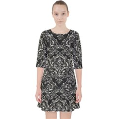 Damask1 Black Marble & Silver Foil (r) Pocket Dress by trendistuff