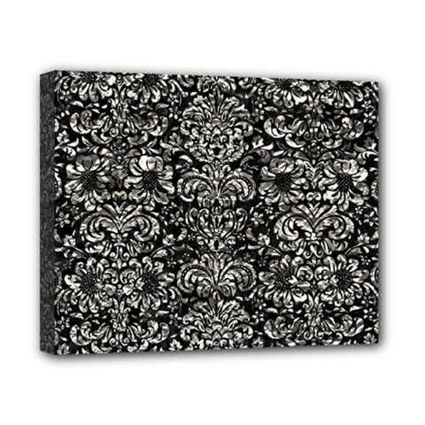 Damask2 Black Marble & Silver Foil (r) Canvas 10  X 8  by trendistuff